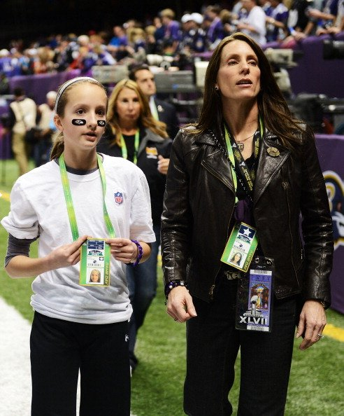 Alison Harbaugh and Ingrid Harbaugh on February 3, 2013 in New Orleans, Louisiana.   Photo: Getty Images