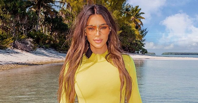 See Kim Kardashian's Infamous Hourglass Figure as She Poses in a One-Piece Yellow Swimsuit