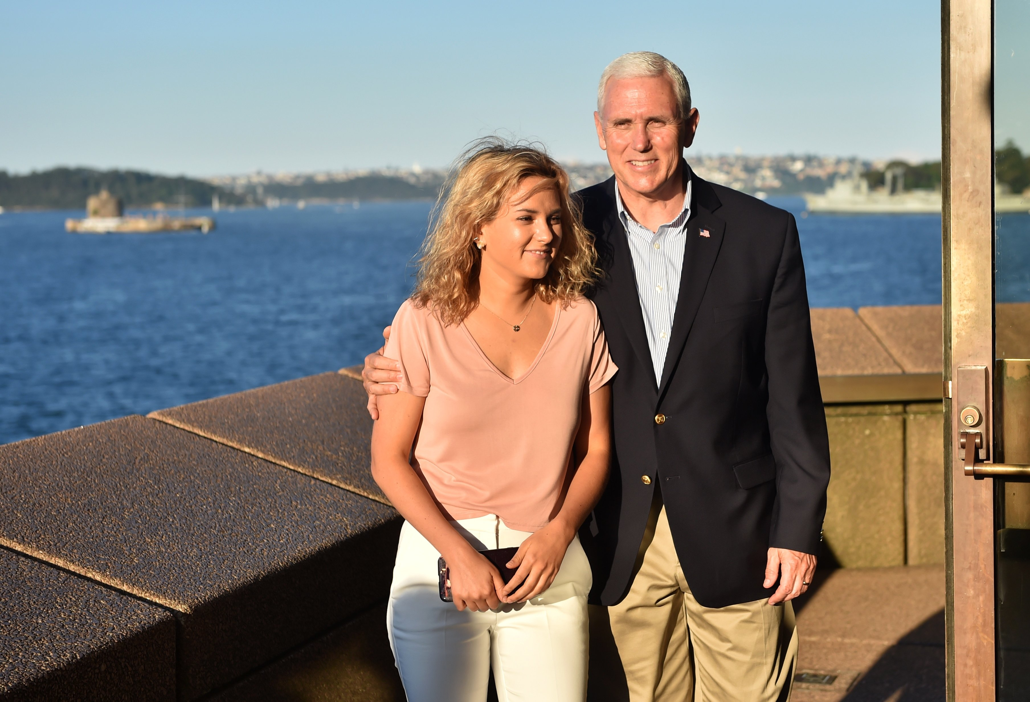Mike Pence  visits the Opera House with his daughter Charlotte on April 23, 2017 in Sydney, Australia | Photo: GettyImages