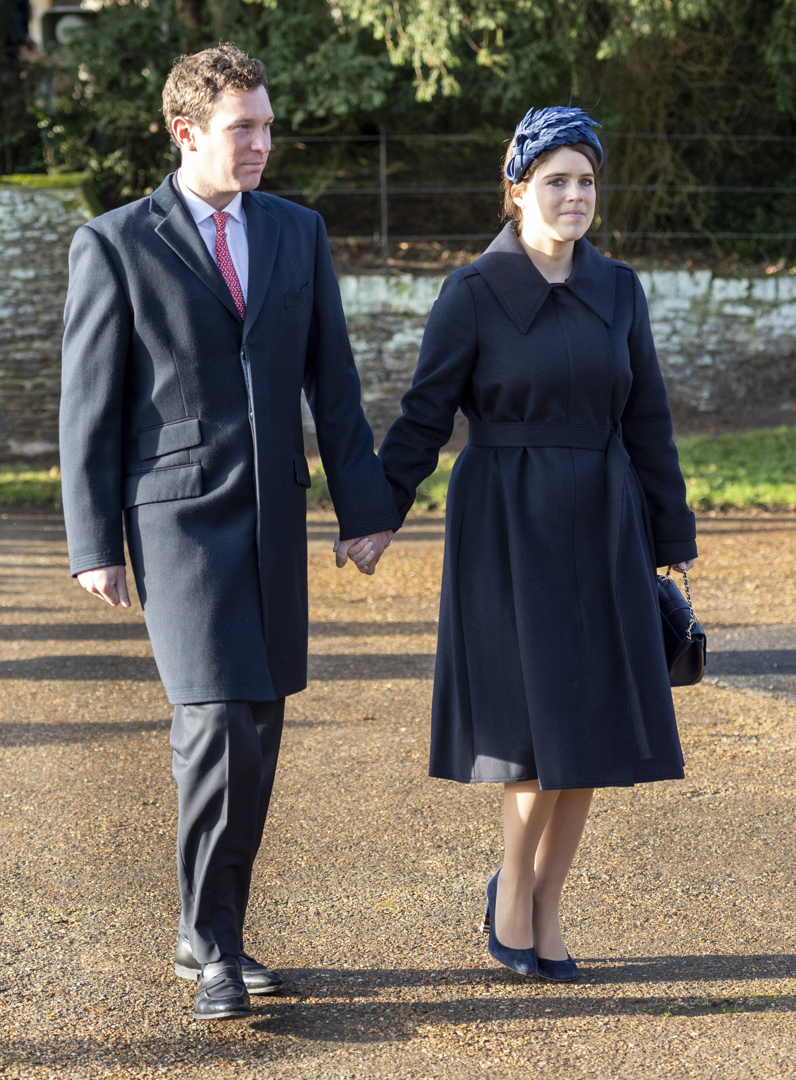 Princess Eugenie and her husband, Jack Brooksbank attending Christmas Day service in Sandringham, December, 2019. | Photo: Getty Images.