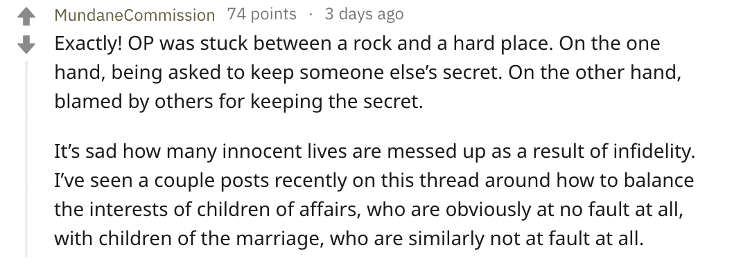 A Redditor's comment on master_secret_keeper's post. | Source:Reddit/master_secret_keeper