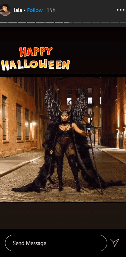 """La La Anthony dressed in a """"Maleficient"""" outfit for Halloween.   Photo: Instagram/lala"""