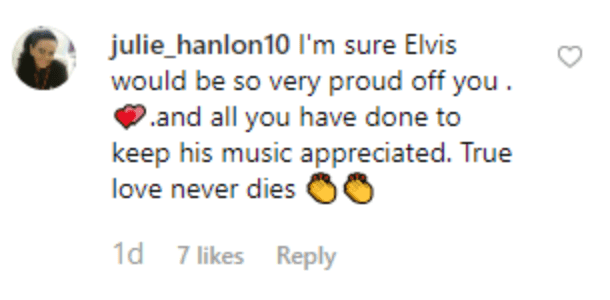 Fan's comment on Pricilla Preseley's post. | Source: Instagram/priscillapresley