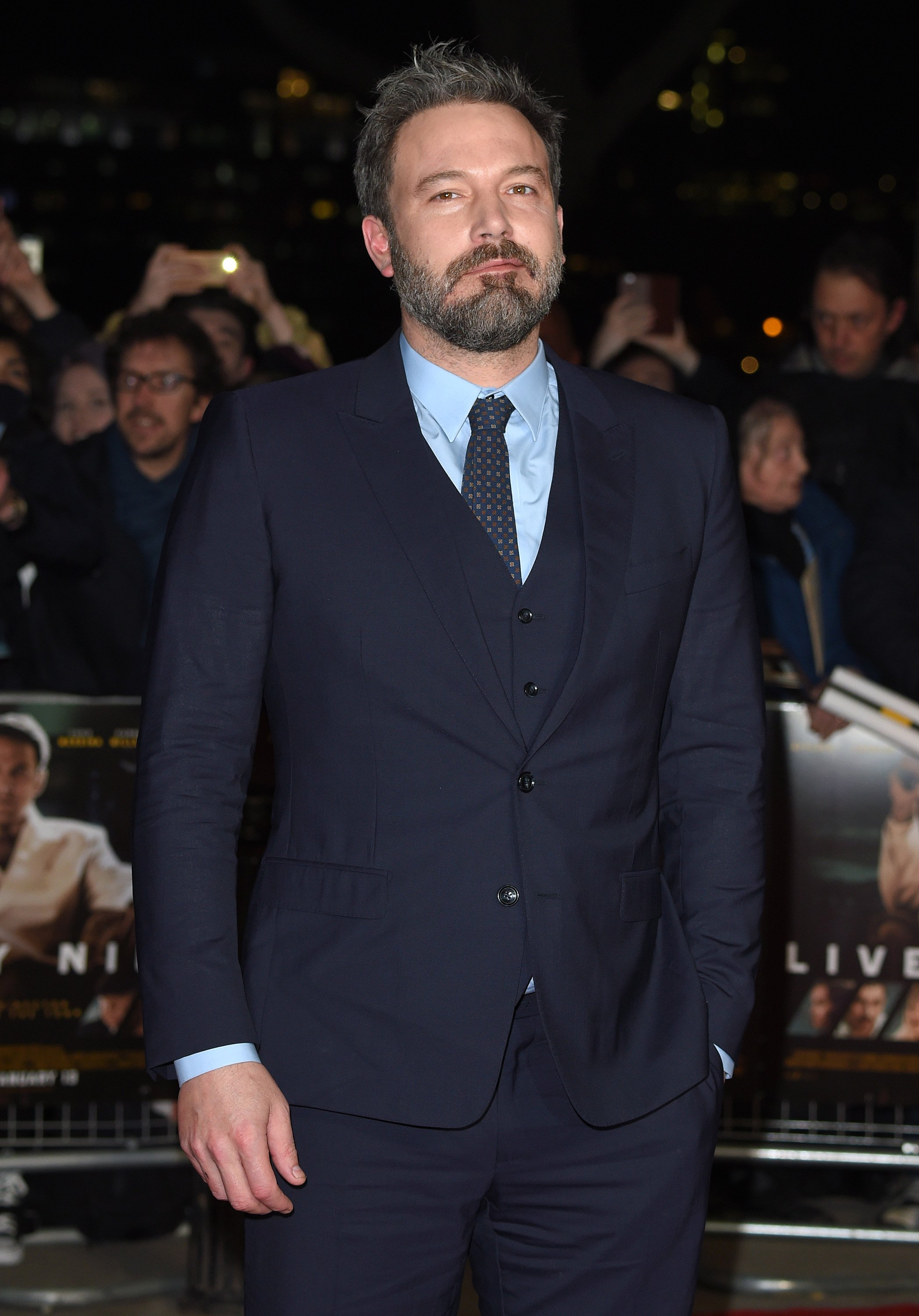 "Ben Affleck attends the premiere of ""Live By Night"" on January 11, 2017 in London, United Kingdom.  