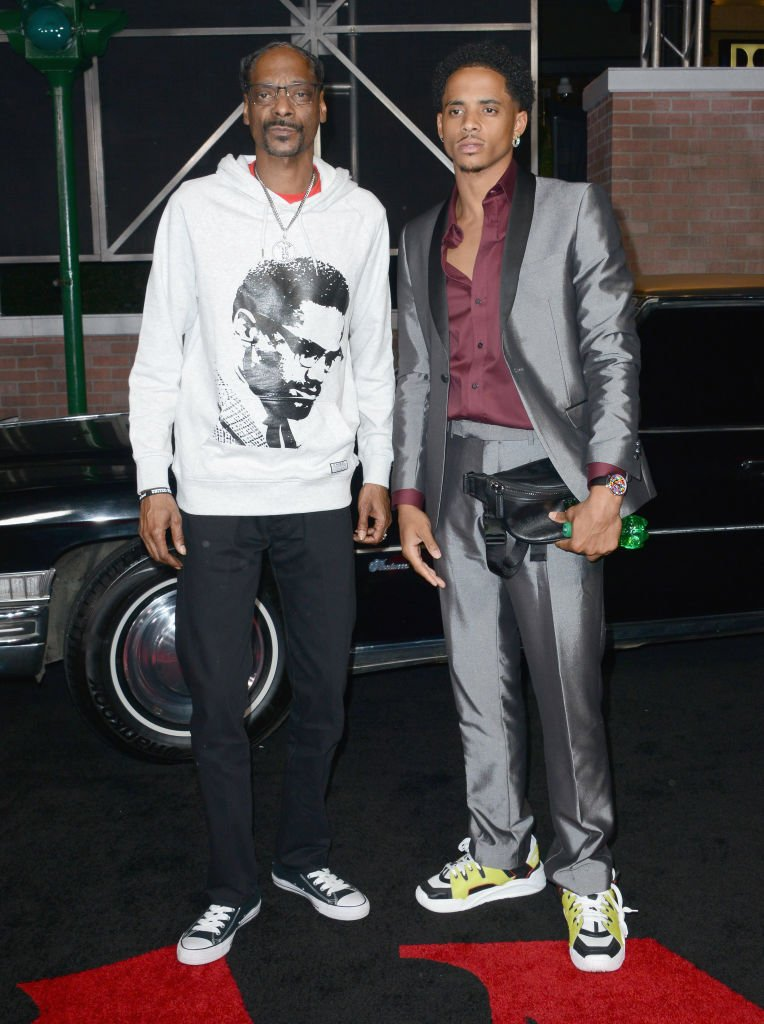 "Snoop Dogg and son Cordell Broadus arrive for the Premiere Of Netflix's ""The Irishman"" held at TCL Chinese Theatre on October 24, 2019 