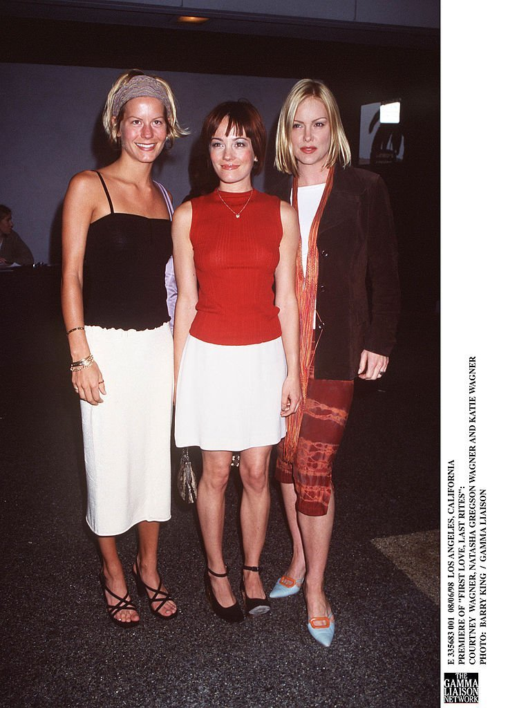 """Courtney Wagner, Natasha Gregson Wagner, and Katie Wagner attend the premiere of """"First Love, Last Rites"""" in August 1998 
