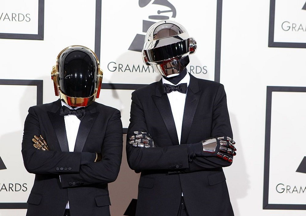 Daft Punk arriving for the 56th Annual GRAMMY Awards at STAPLES Center in Los Angeles, California, in January 2014.   Image: Getty Images.