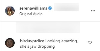 Another complimentary comment on a video by Serena Williams posted on her Instagram   Photo: Instagram/serenawilliams