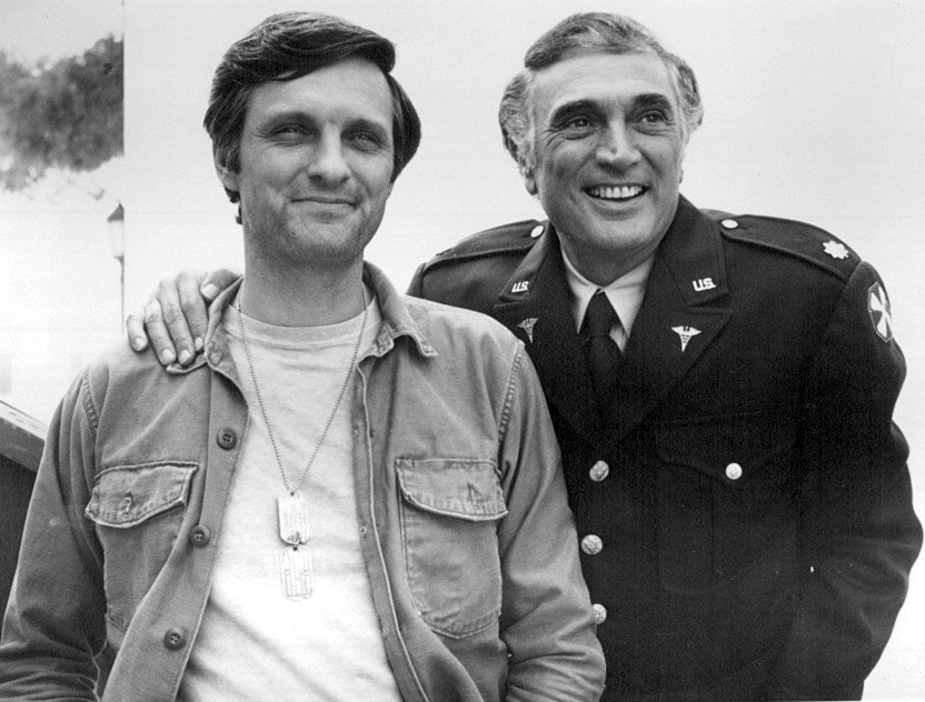"""Alan and Robert Alda in """"M*A*S*H"""" in 1975 