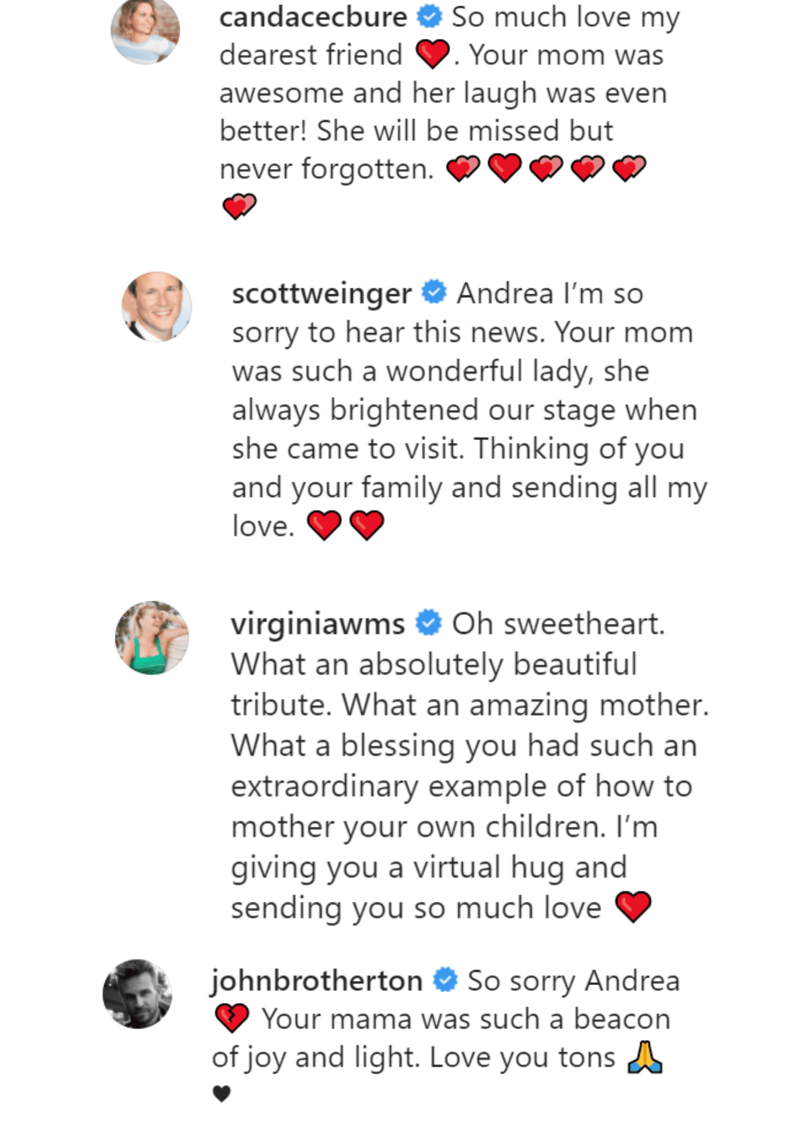 Reactions under Andrea Barber's Instagram post. | Source: Instagram/Andrea Barber