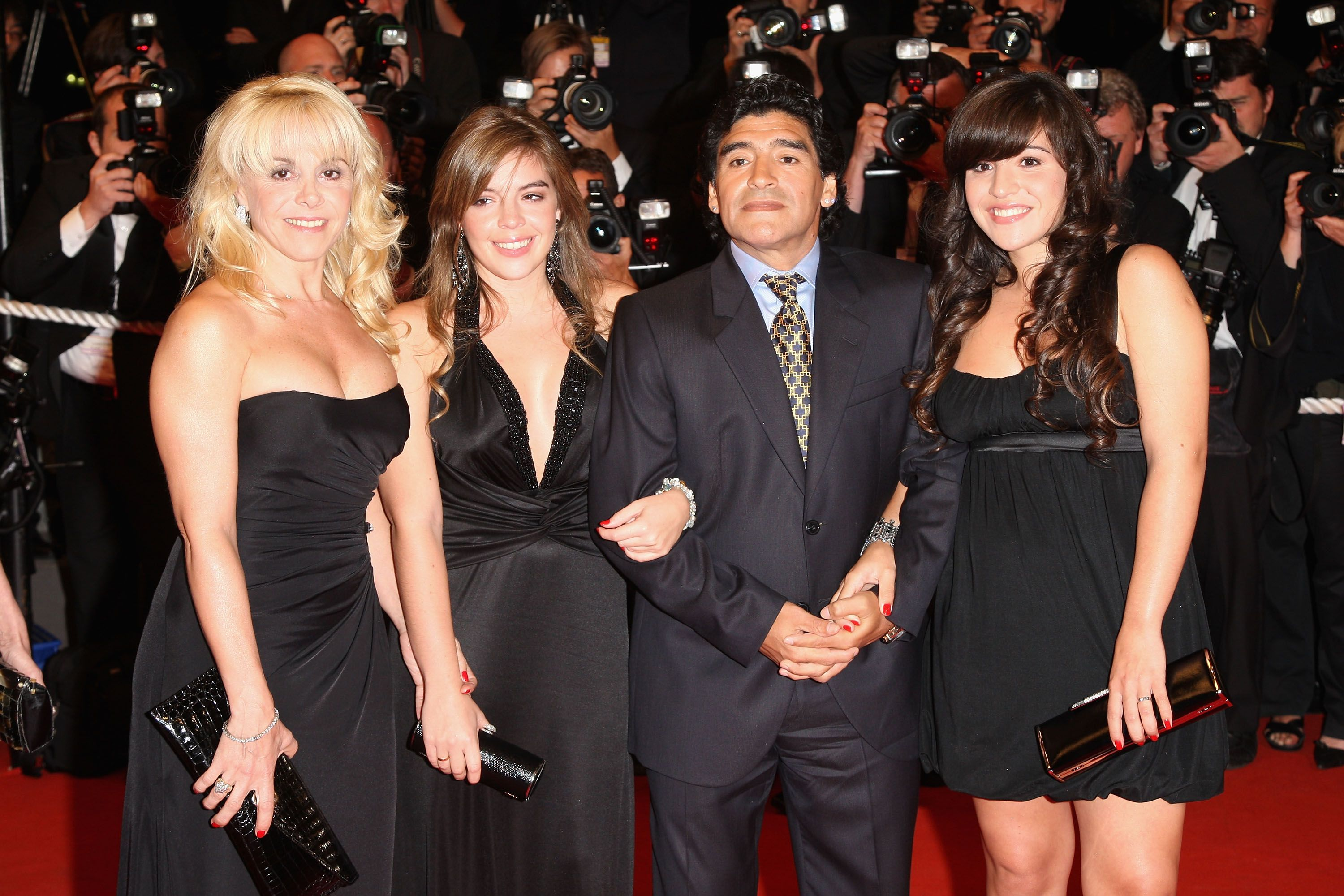 """Diego Maradona and ex wife Claudia Villafane with daughters Dalma Nerea and Giannina Dinorah at the """"Maradona"""" premiere during the 61st International Cannes Film Festival on May 20 , 2008 in Cannes, France.   Photo: Getty Images"""