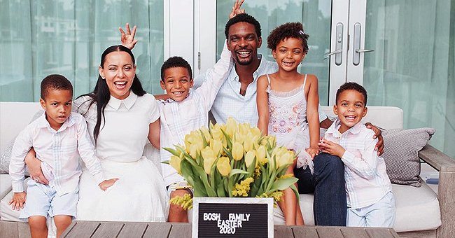 Chris Bosh of NBA Enjoys Easter with Wife Adrienne & Their Kids in Festive Outfits