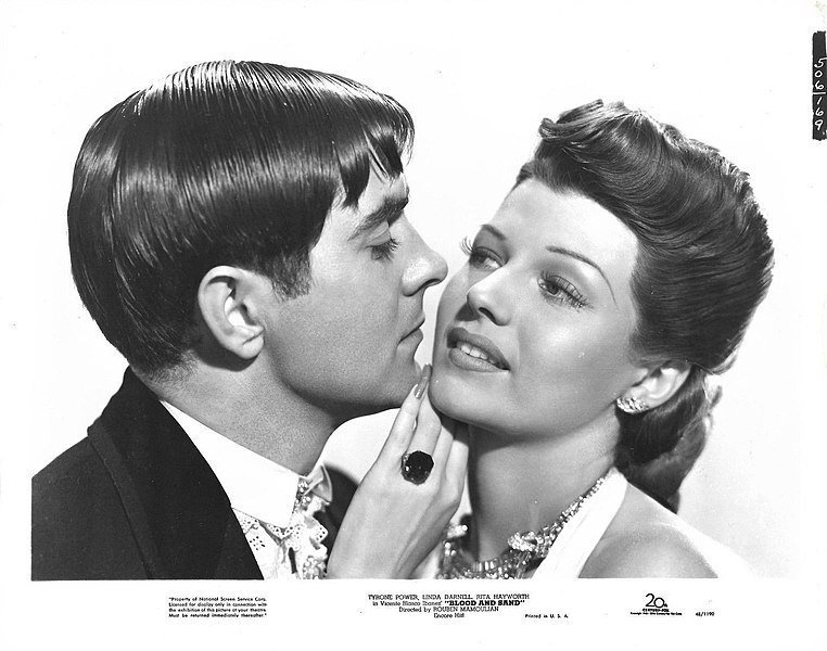 """Tyrone Power and Rita Hayworth in """"Blood and Sand,"""" 1941.   Source: Wikimedia Commons"""