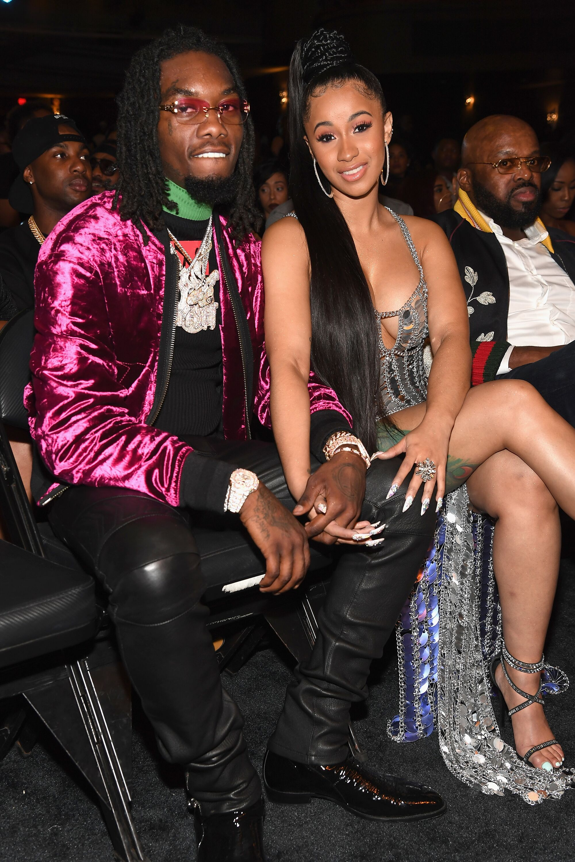 Cardi and Offset in matching sequined outfits during an awards night | Source: Getty Images/GlobalImagesUkraine
