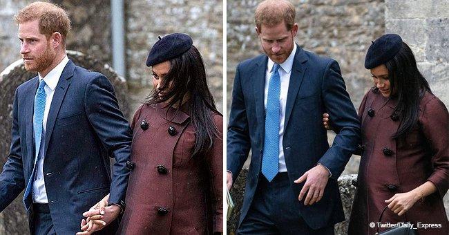 Meghan Markle a été aperçue avec le prince Harry au baptême quelques semaines avant la date de son accouchement