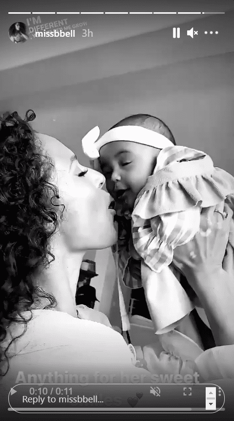 Nick Cannon's partner Brittany Bell and their daughter Powerful posing for an Instagram story.   Source: Instagram/missbbell