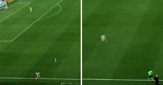 A toddler runs onto a soccer field during the game and his mother chases after him   Photo: Twitter/MLS