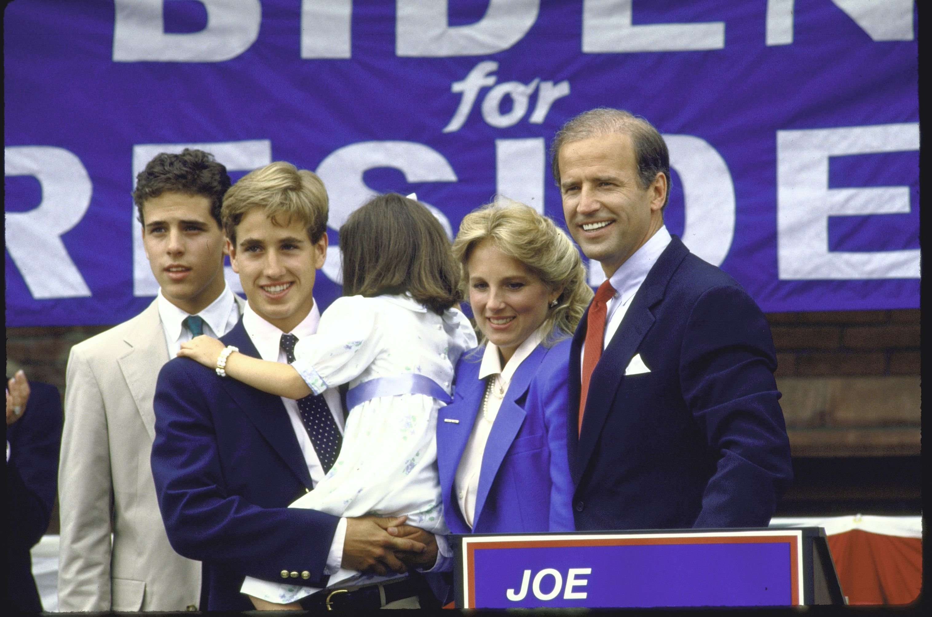 Joe Biden with sons Beau and Hunter, as well as daughter Ashley and wife Jill after announcing his candidacy for the Democratic presidential nomination | Photo: Cynthia Johnson/The LIFE Images Collection via Getty Images