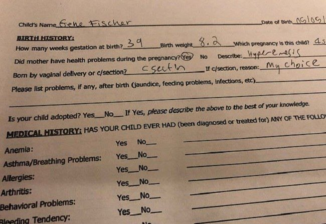 Photo of Amy Schumer's hospital document | Photo: Instagram/@amyschumer