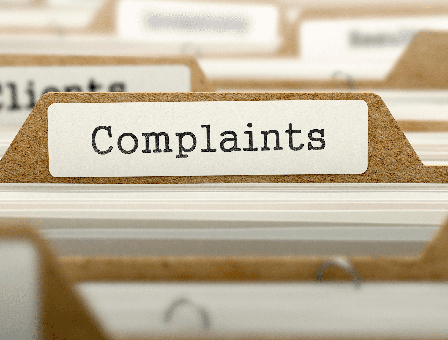 A cabinet displays a file of complaints   Photo: Shutterstock/ESB Professional