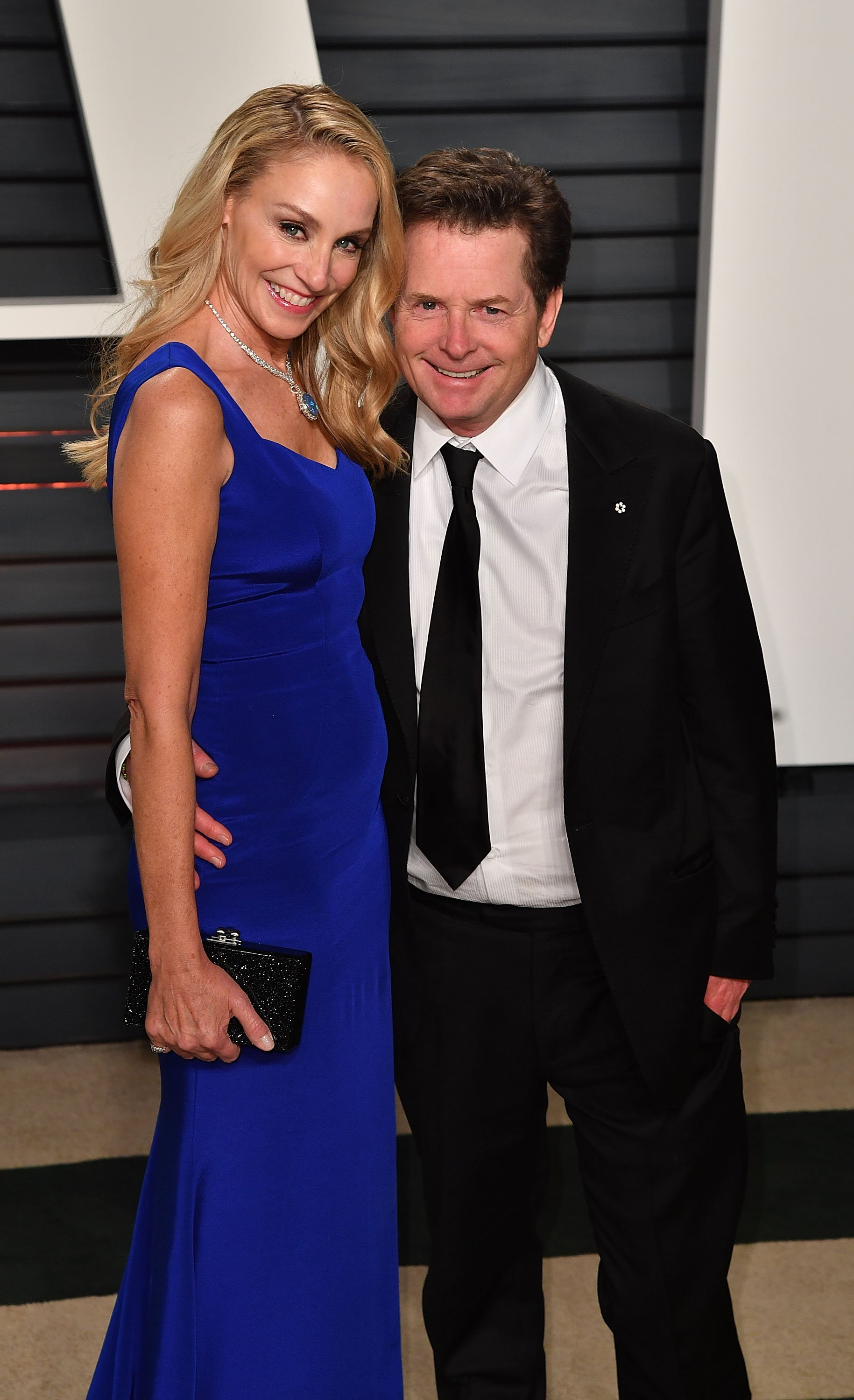 Actor Michael J. Fox and wife Tracy Pollan arrive at the 2017 Vanity Fair Oscar Party Hosted By Graydon Carter at Wallis Annenberg Center for the Performing Arts on February 26, 2017 in Beverly Hills.   Source: Getty Images