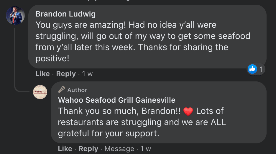 An online user interacts with a restaurant that recently received a big tip and the user pledges to visit the establishment soon | Photo: Facebook/Wahooseafoodgrilltally