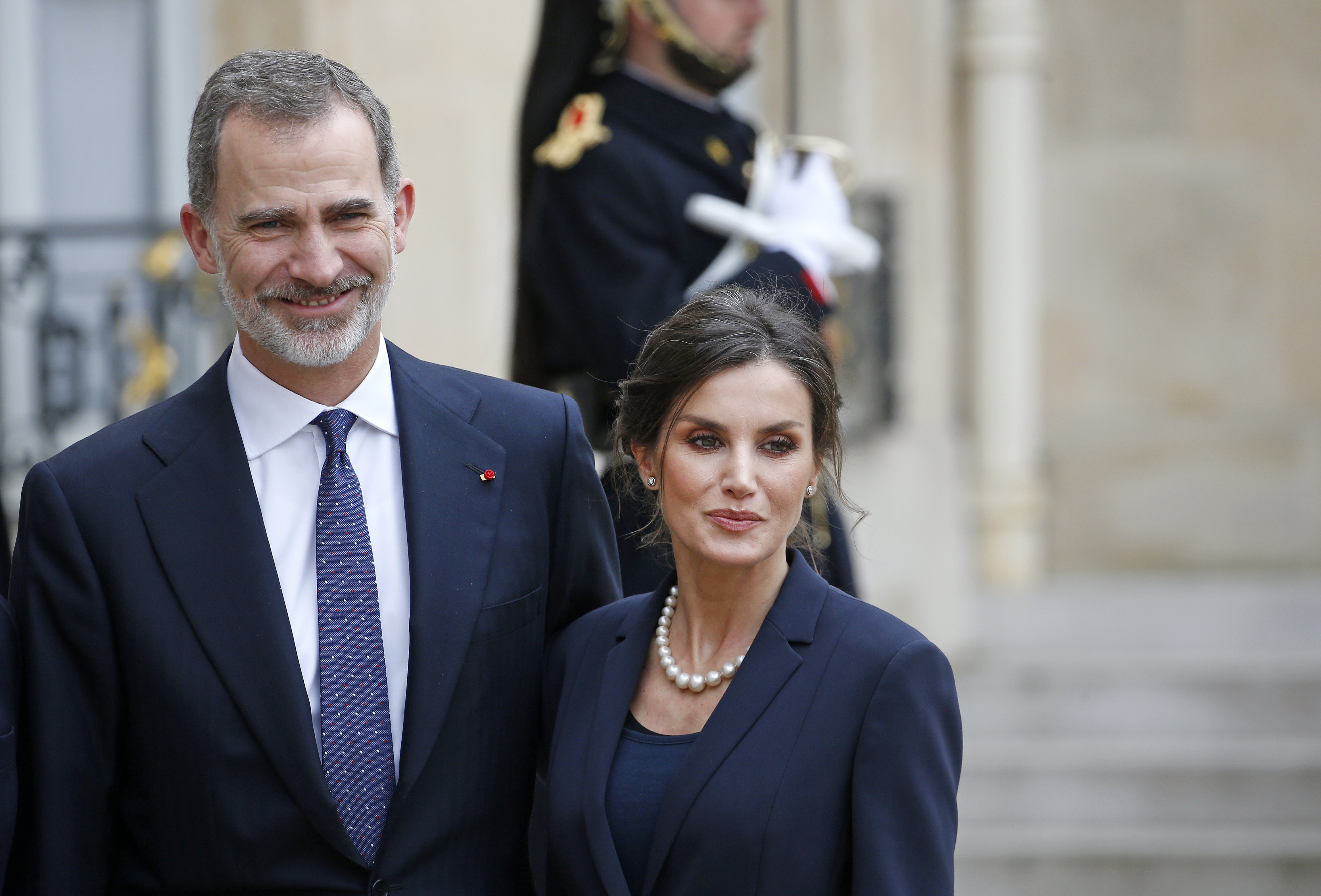 King Felipe of Spain and Queen Letizia of Spain pose after their lunch at the Elysee Presidential Palace on March 11, 2020. | Source: Getty Images