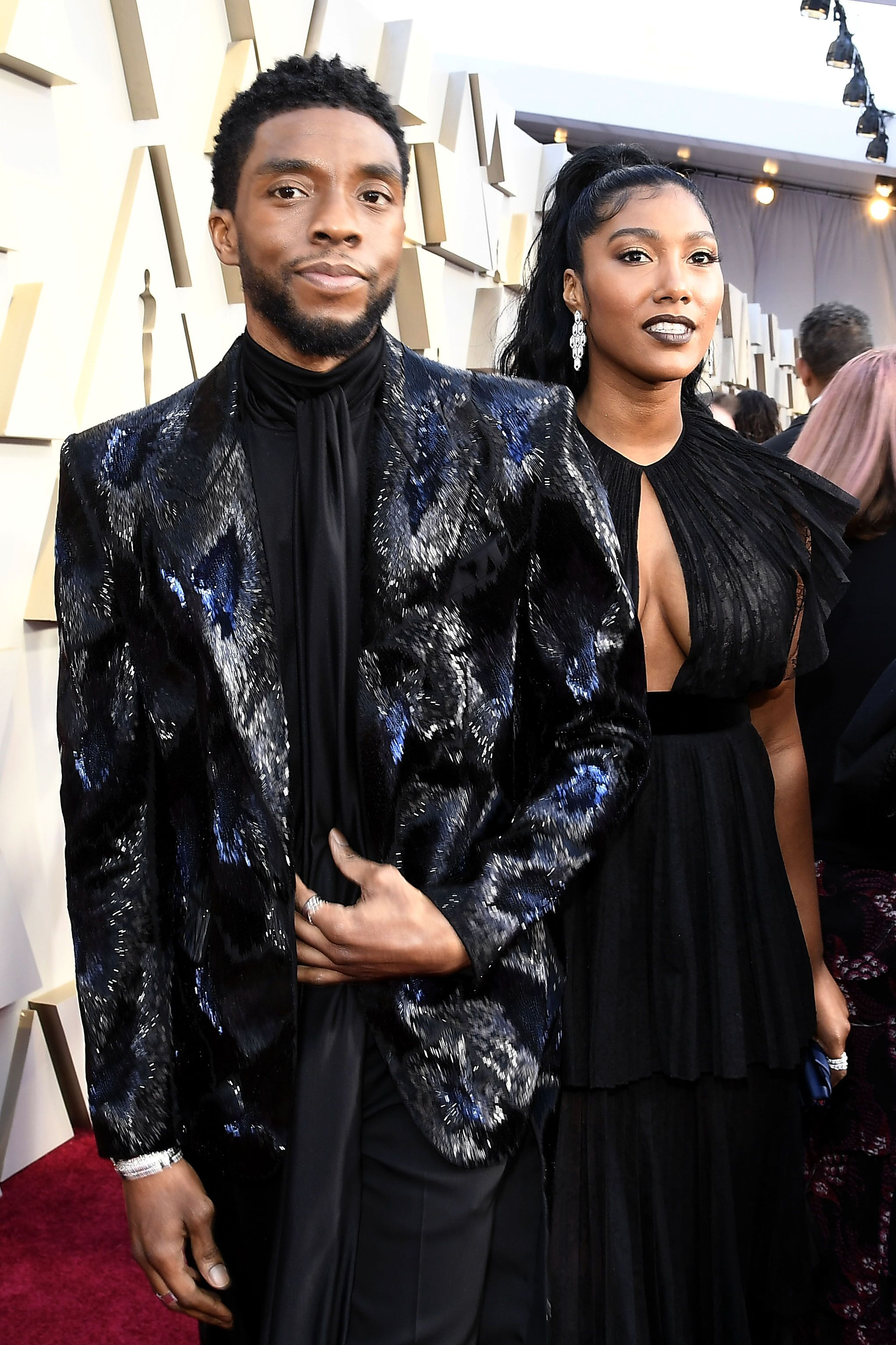 Chadwick Boseman and Taylor Simone Ledward attend the Academy Awards   Source: Getty Images/GlobalImagesUkraine