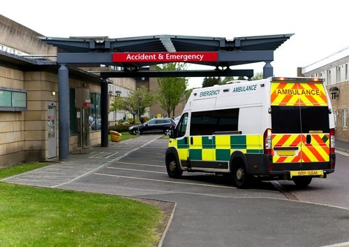 An ambulance drives into an Accident & Emergency ward of a hospital. | Source: Shutterstock