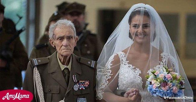 Une histoire émouvante alors qu'un ancien combattant accompagnait sa petite-fille à l'autel juste avant de mourir