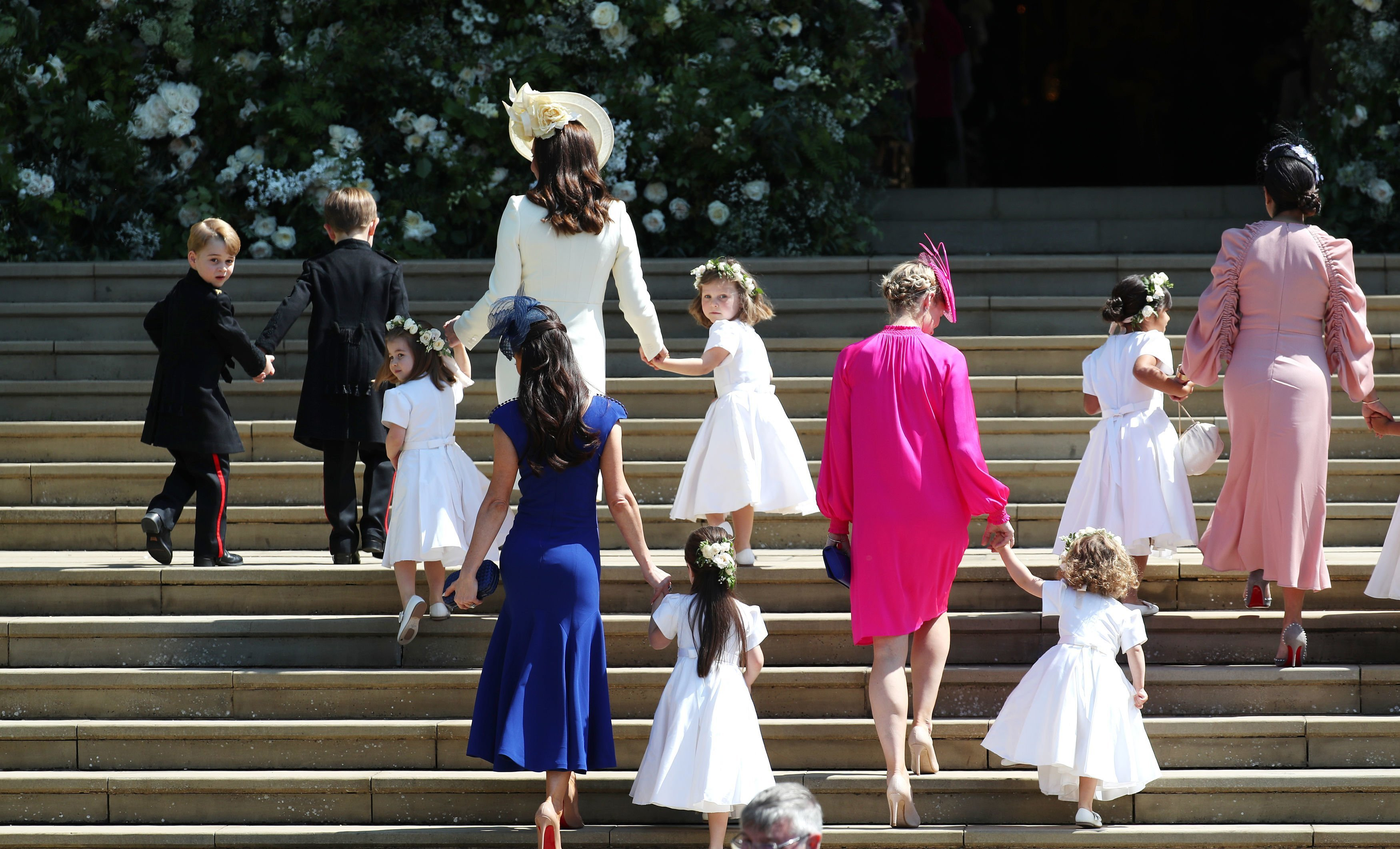 Catherine, Duchess of Cambridge, Jessica Mulroney,  Zalie Warren, and the other bridesmaids and pages arrive at St George's Chapel at Windsor Castle for the wedding of Prince Harry and Meghan Markle | Photo: GettyImages
