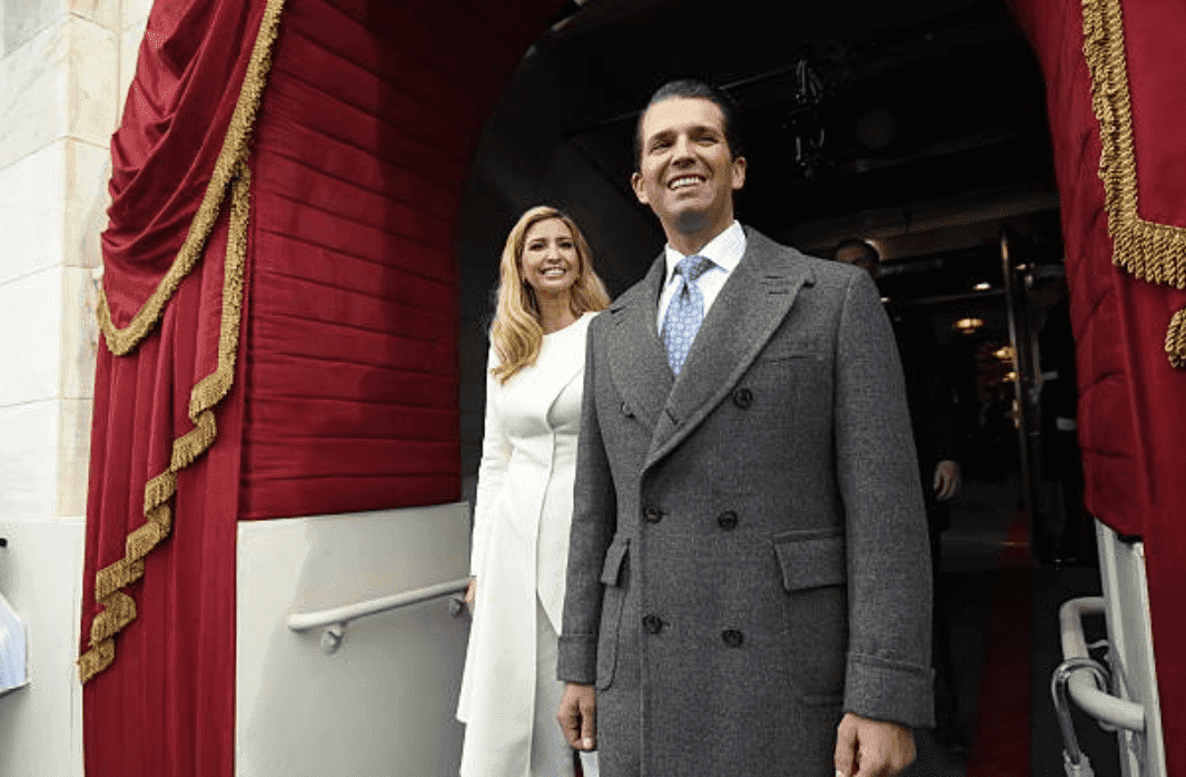 Donald Trump Jr and Ivanka Trump arriving for the Presidential Inauguration of Donald Trump on January 20, 2017, Washington, DC | Source: Getty Images