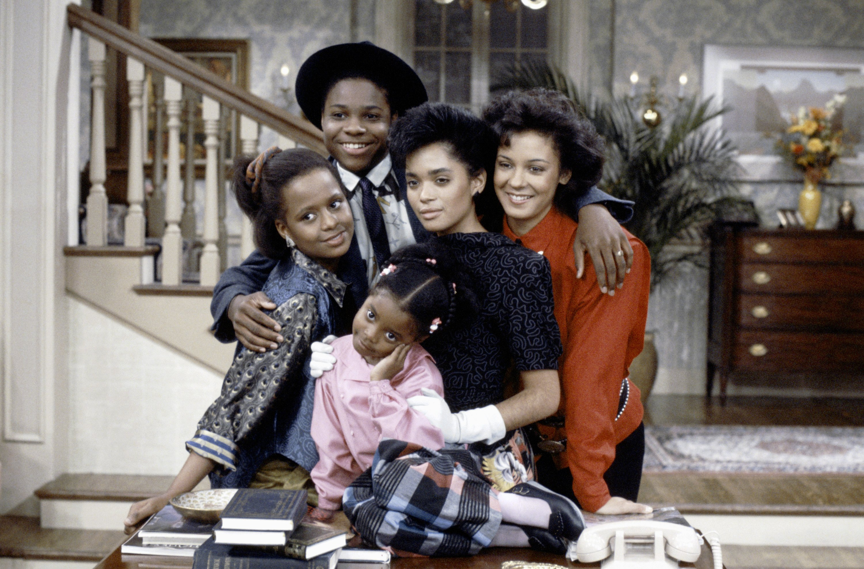 "Tempestt Bledsoe, Malcolm-Jamal Warner,  Keshia Knight Pulliam, Lisa Bonet, Sabrina Le Beauf, on ""The Cosby Show""  