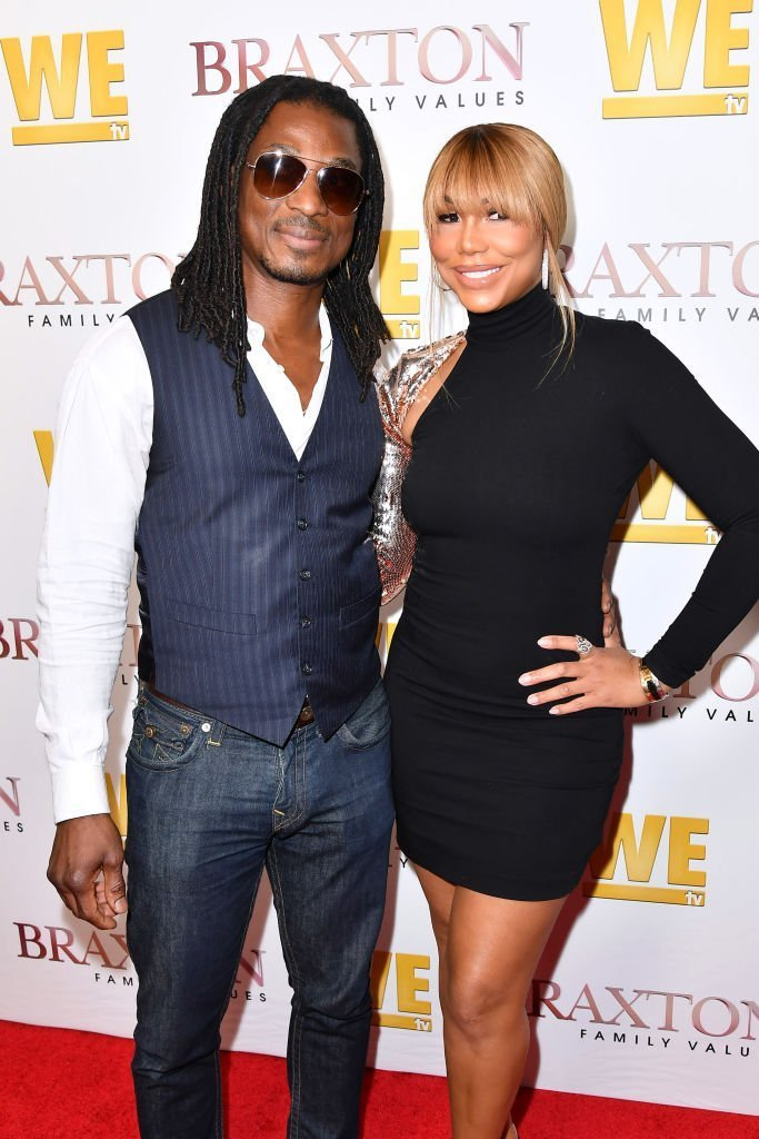 "David Adefeso & Tamar Braxton at the premiere of ""Braxton Family Values"" on April 02, 2019 in California 