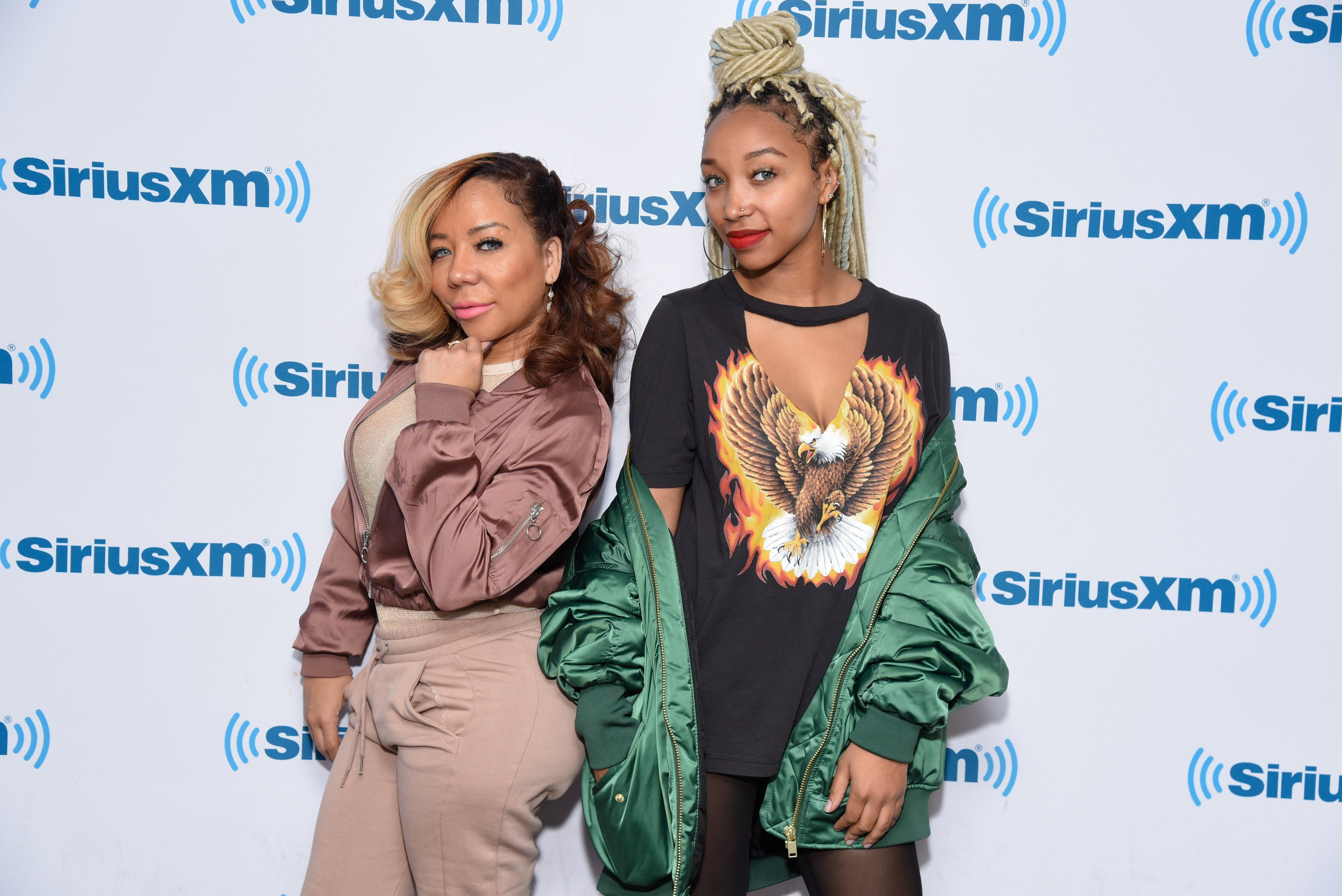 """Tameka """"Tiny"""" Harris and Zonnique Jailee Pullins at SiriusXM Studios in New York City 