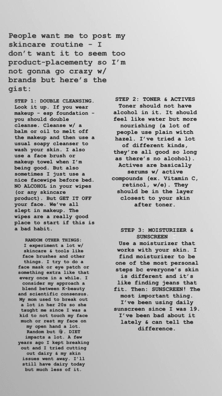Ocasio-Cortez candidly shared her skincare routine step by step. I Image: Instagram/ocasio2018