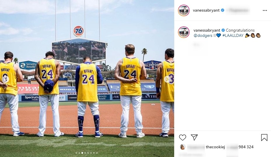 A screenshot of the Dodgers baseball team from Vanessa Bryant's Instagram Page | Photo: instagram.com/vanessabryant/