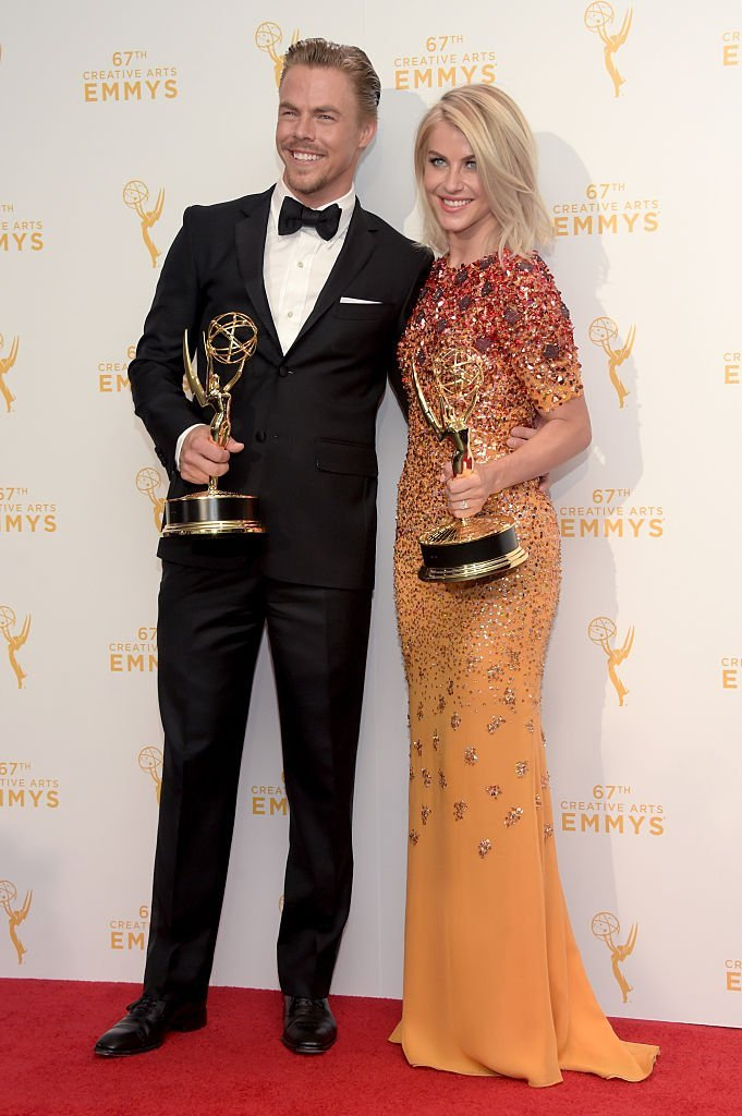 "Derek Hough and Julianne Hough, co-winners of the award for choreography for ""Dancing with the Stars,"" during the 2015 Creative Arts Emmy Awards. 