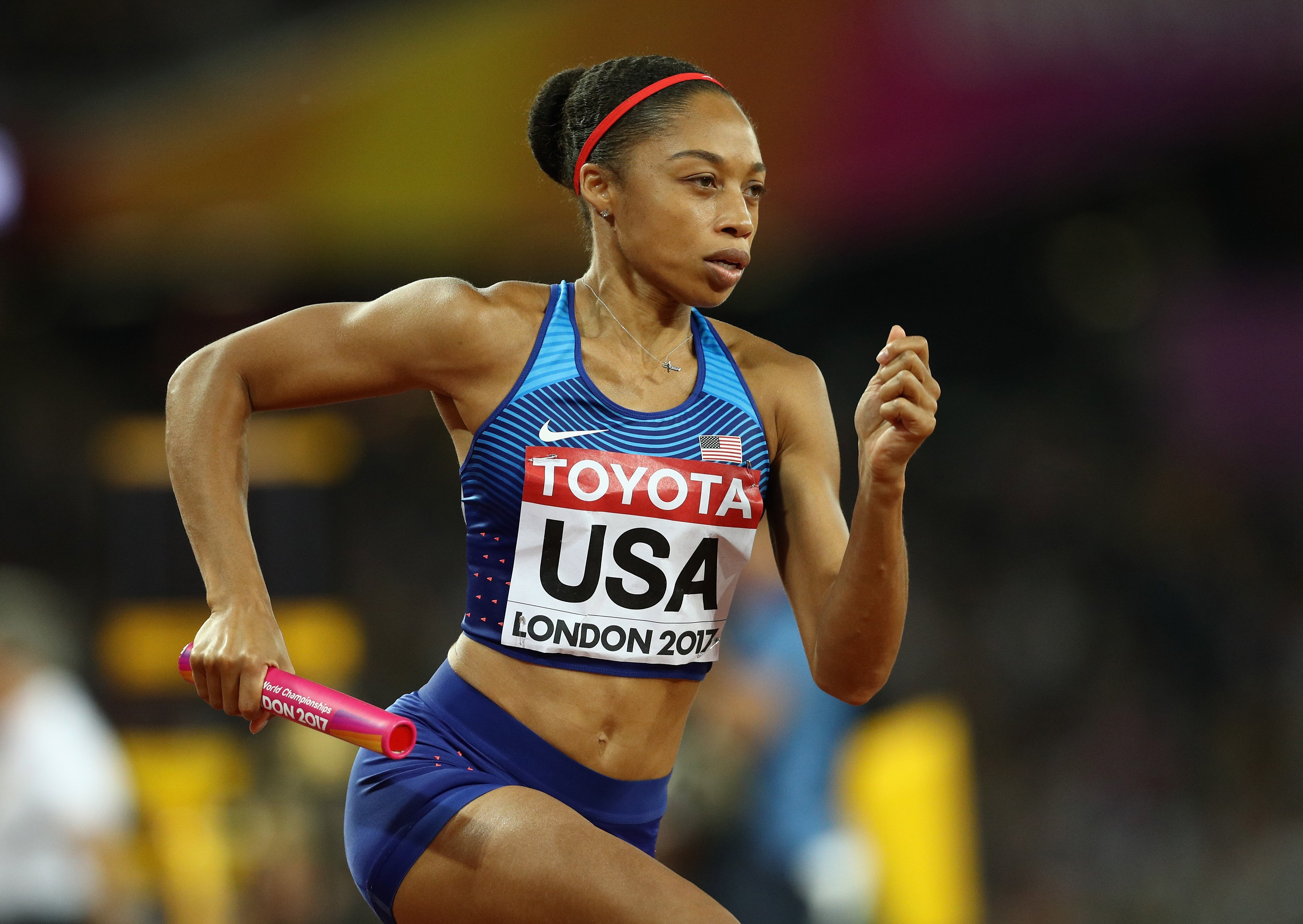 Allyson Felix during the Women's 4x400 Meters Relay final at the IAAF World Athletics Championships London on Aug. 13, 2017 | Photo: Getty Images