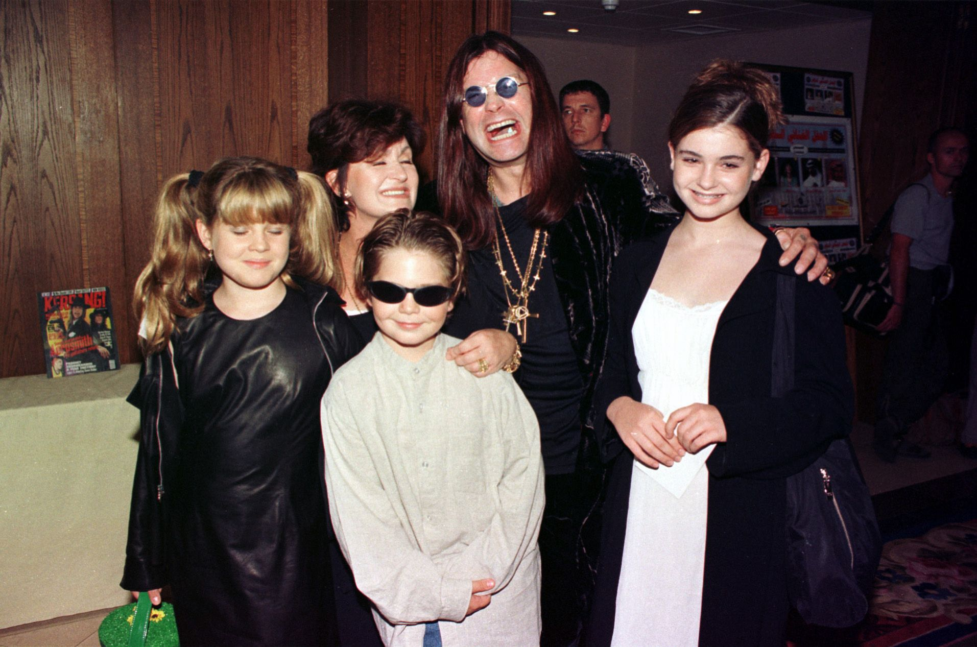 Ozzy Osbourne, wife Sharon and children Kelly, Jack and Aimee at the Kerrang Awards on August 21, 1997 (Photo: Getty Images
