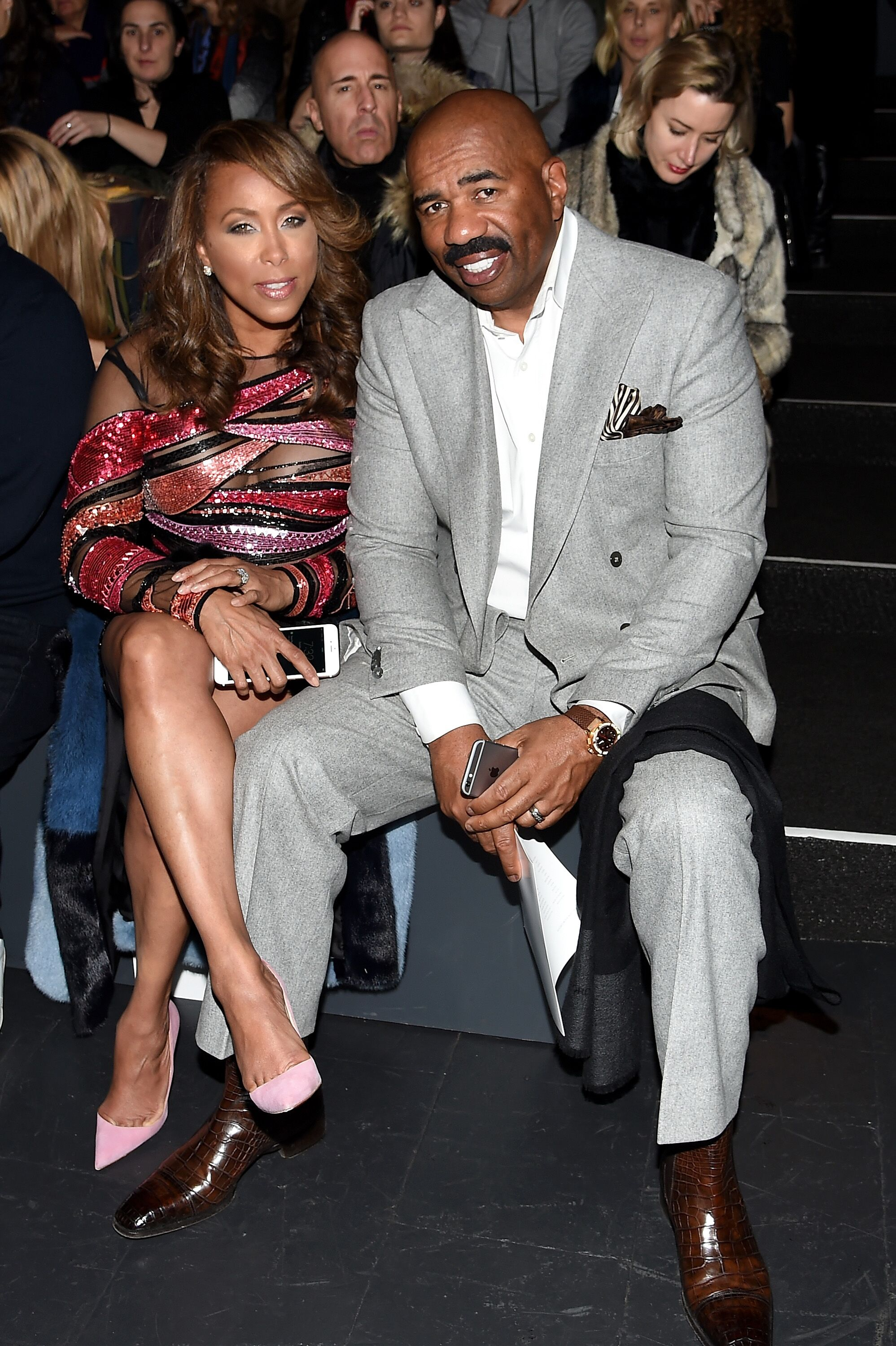 Steve Harvey and his third wife Marjorie at the Prabal Gurung Fall 2016 show during New York Fashion Week | Source: Getty Images