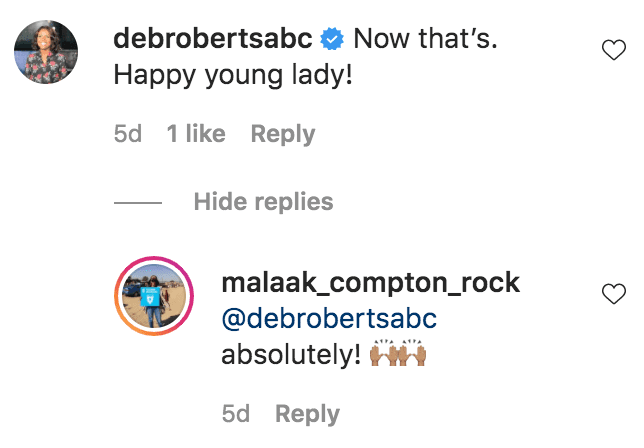 Deborah Roberts commented on photos of Zahra Rock holding up ribbons after and equestrian competition | Source: Instagram.com/malaak_compton_rock
