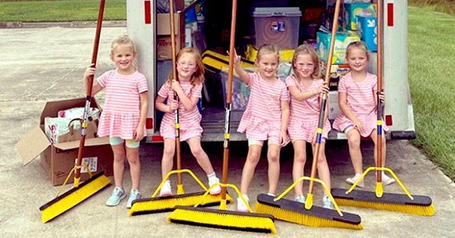 'OutDaughtered' — Busby Quints Look Incredibly Adorable in Striped Dresses as They Hold Brooms