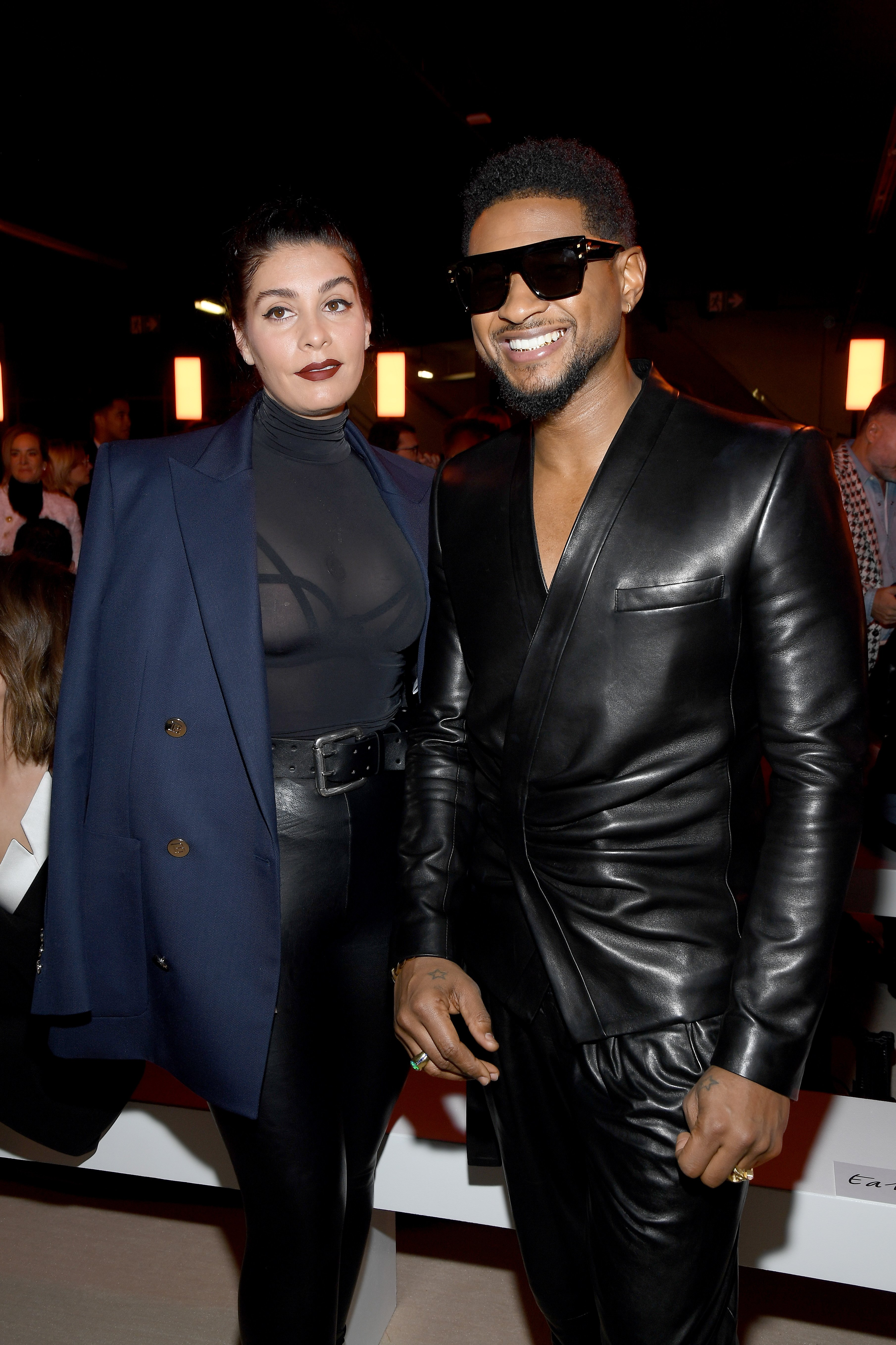 Jenn Goicoechea and Usher attend the Balmain show at Paris Fashion Week on February 28, 2020 in Paris, France.   Source: Getty Images