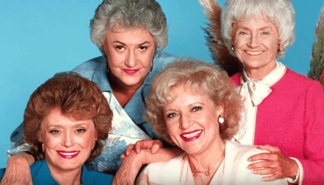 "Promotional photo of Betty White, Bea Arthur, Rue McClanahan, and Estelle Getty for ""The Golden Girls."" 