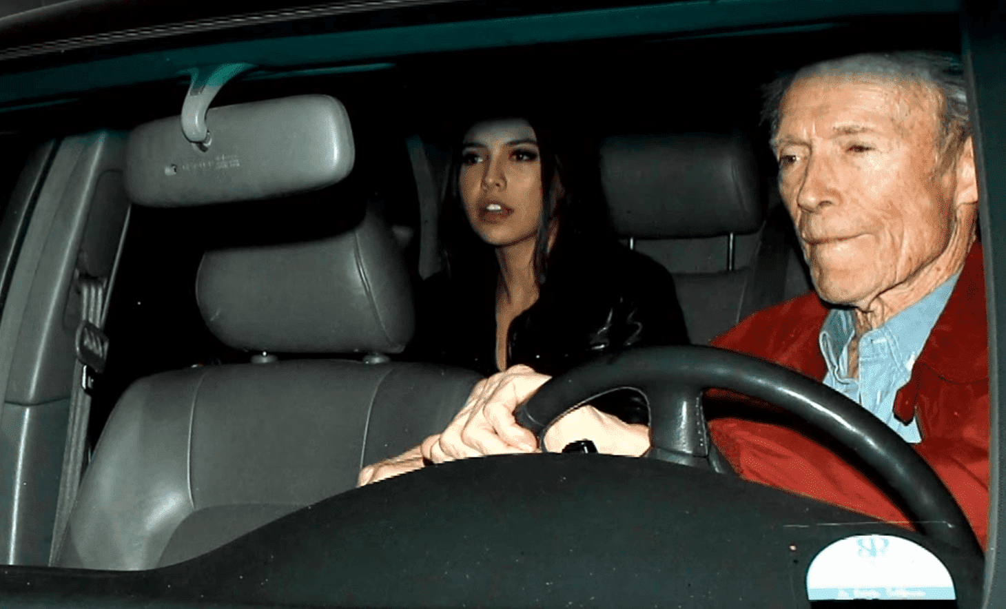 Clint Eastwood left Craig's restaurant in West Hollywood with Noor Alfallah. | Photo: YouTube/Dish Nation