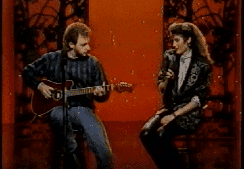 "Amy Grant and Gary Chapman performing on ""The Tonight Show with Johnny Carson"" in 1986. 