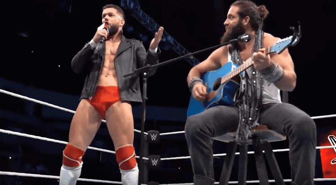 "WWE superstars Finn Balor and Elias performing Lady Gaga and Bradley Cooper's Oscar-winning hit ""Shallow""   Photo: YouTube/Gaga Daily"