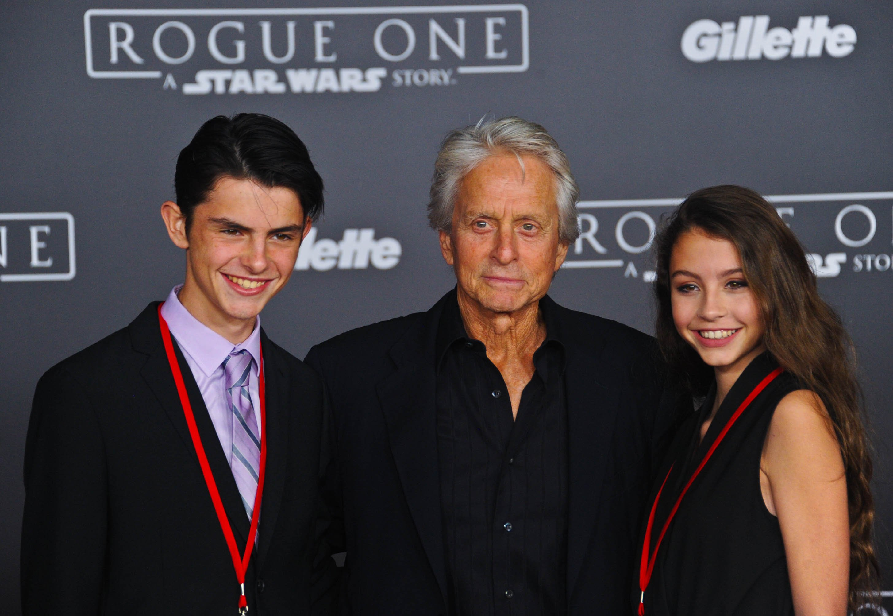 Dylan and Carys Douglas with their father Michael.   Photo: Getty Images