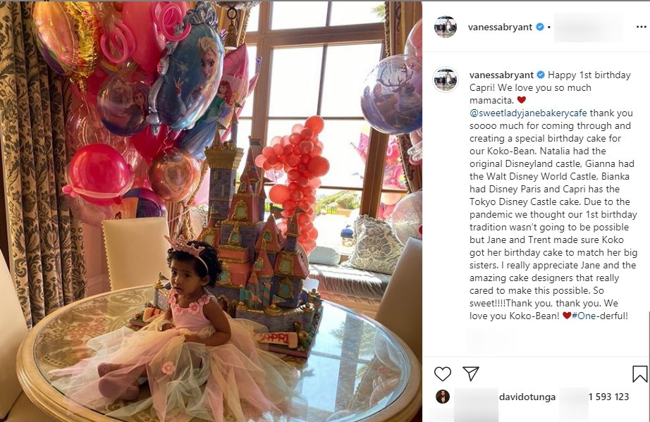 Vanessa And Kobe Bryant S Daughter Capri Celebrates 1st Birthday In Cute Dress And A Pink Crown